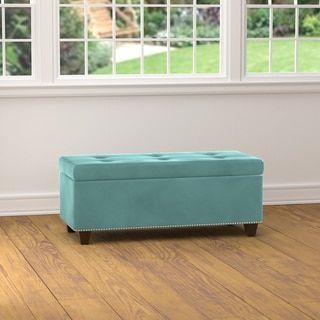 Portfolio Tufted Turquoise Blue Velvet Bench Storage