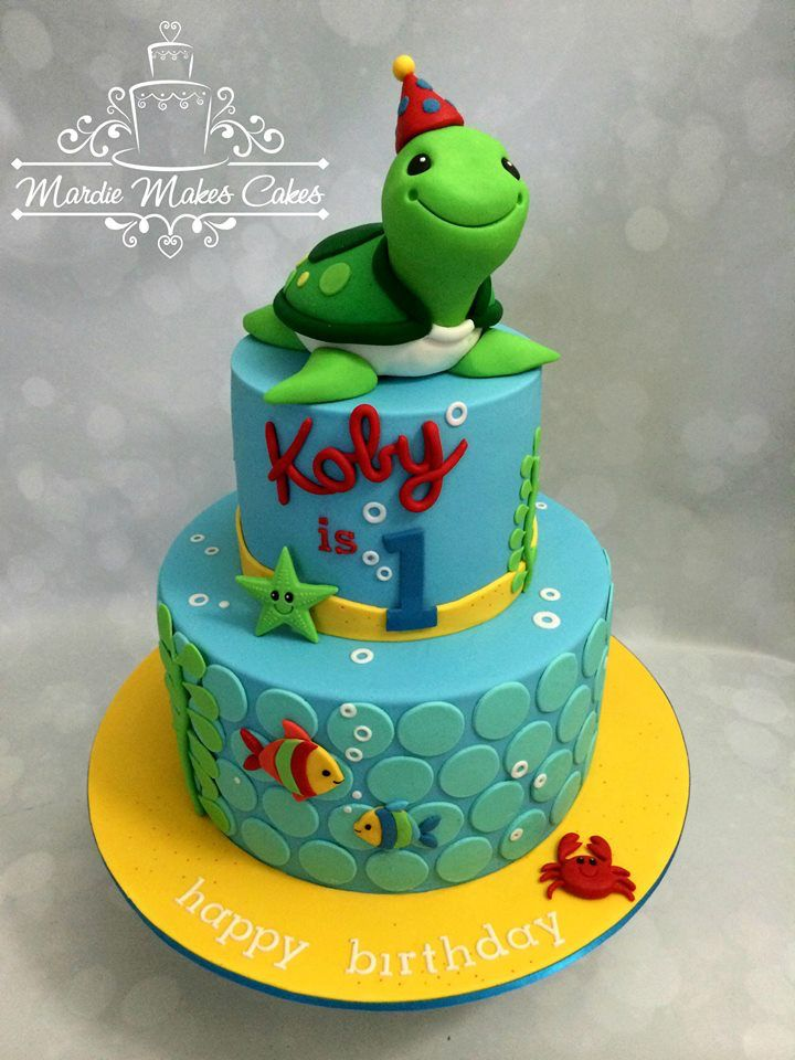 Under The Sea Boy Turtle Birthday Cake 1st Birthday Cakes First Birthday Cakes