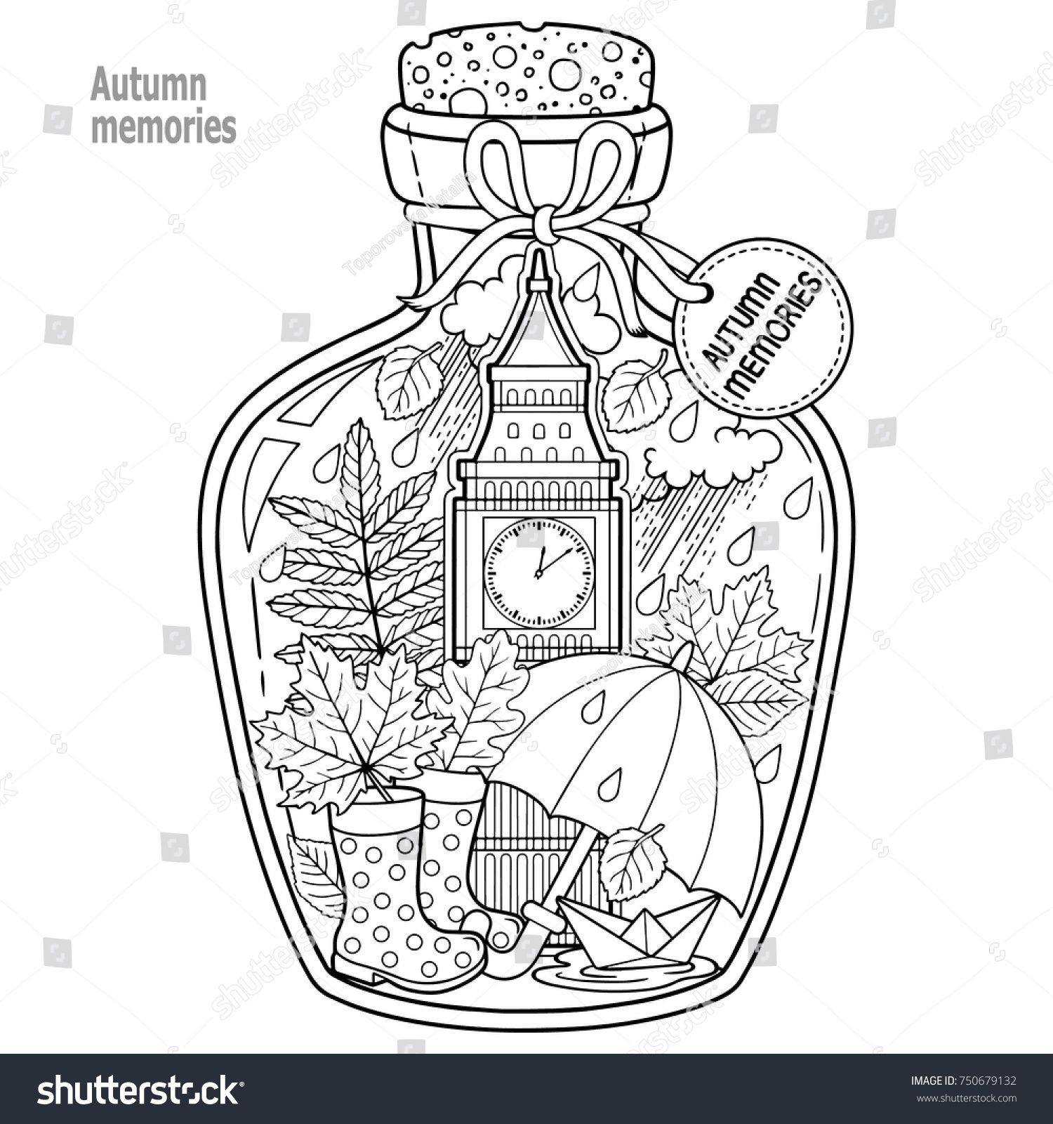 Coloring book for adults. A glass vessel with autumn memories of dreams about a trip to London. A bottle with rain, boots, leaves, a cup of tea, big ben tower london, Victoria Tower, #coloringpagestoprint