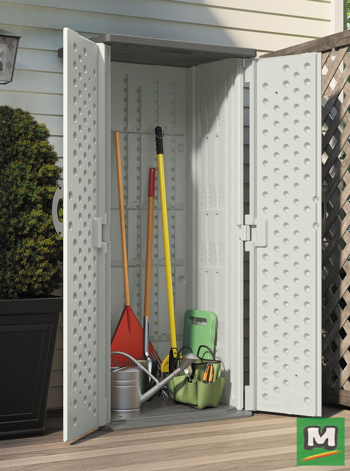 Store garden supplies, pool and patio items and more in