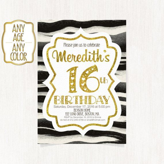 16th birthday invitation sweet sixteenth birthday party gold