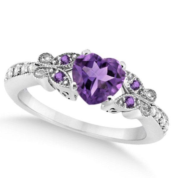 Butterfly Amethyst Diamond Heart Engagement Ring 14k W Gold 1 28