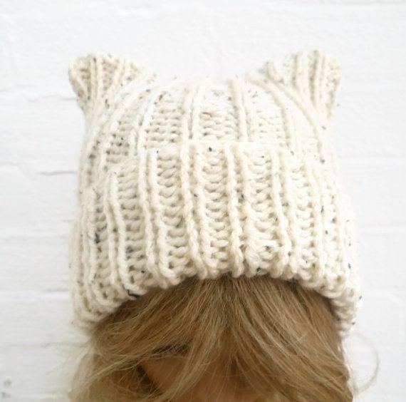 A cute square cat ear beanie hat knit in cream chunky ...