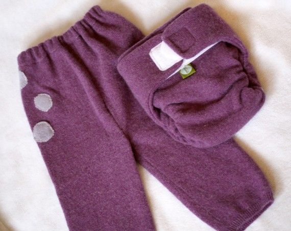 Recycled Wool Sweater Diaper Cover and Longies Set – One Sweater ...