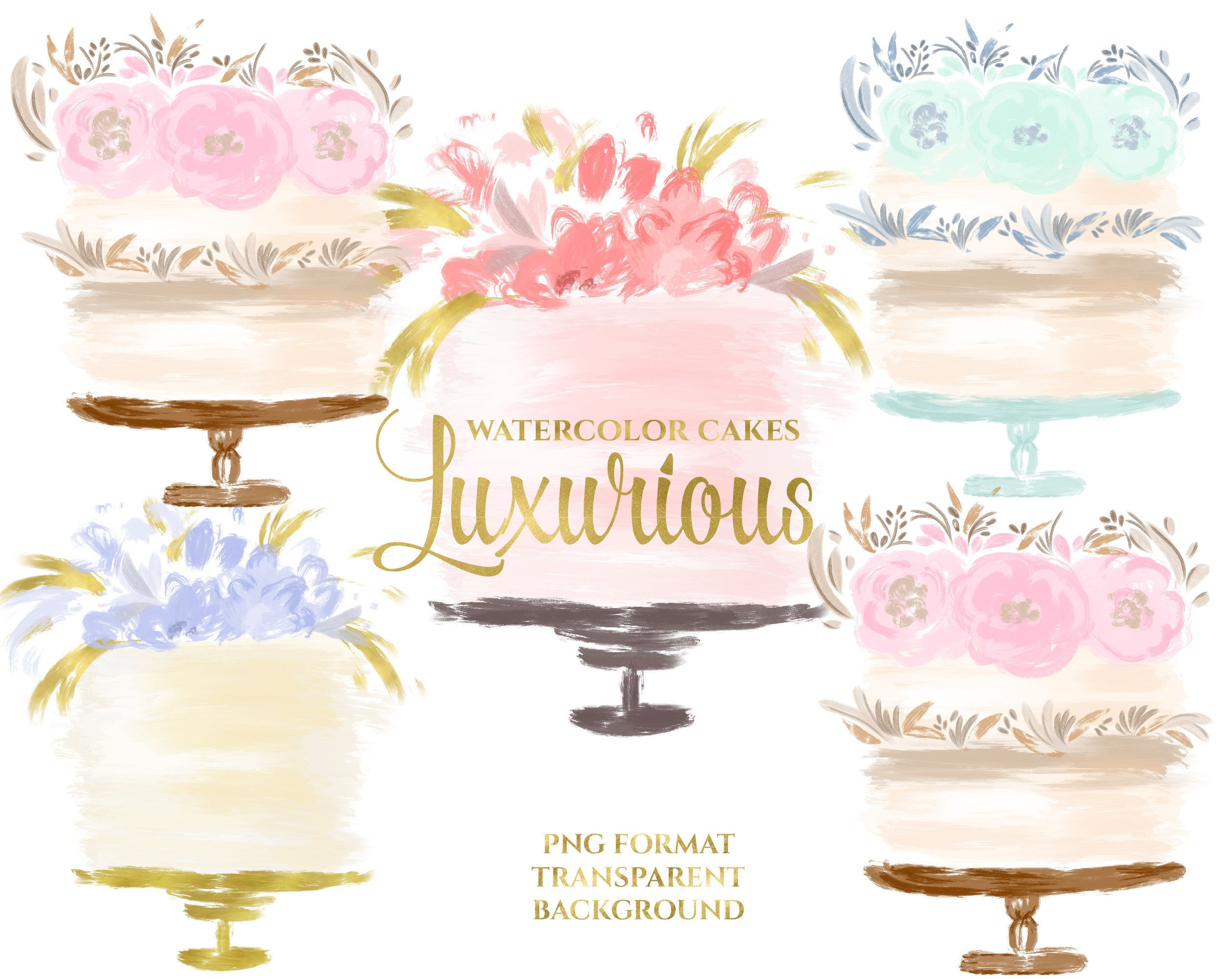 Watercolor Cake Clipart Watercolor Bakery Clipart Wedding Cake