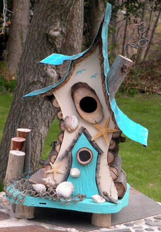 Photo of Bird house, bird house with insulated metal roof, nautical bird house, beach art, functional bird house