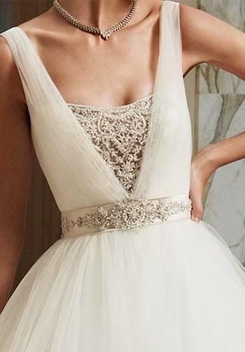 Gorgeous wedding dress neckline detailing - love the beaded sash ...