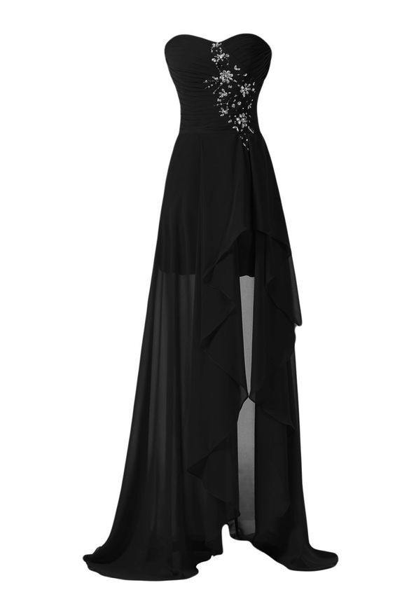 Simple Black High Low Slit Chiffon Elegant Evening Dress, Black Formal Dress, Wedding Party Dresses