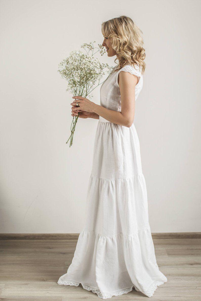 Boho Wedding Dress Linen Wedding Dress Modest Wedding Dress Simple Wedding Dress Lace Wedding Dress Linen Clothing Beach Wedding Dress White Bridal Dresses Wedding Dresses Simple Linen Wedding Dress [ 1191 x 794 Pixel ]