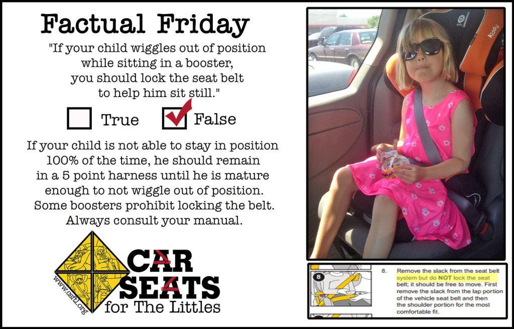 Don't lock the belt! Child passenger safety, Car seats