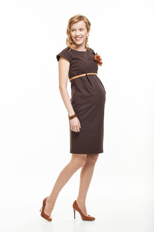 c74b0e69c409f Nora brown classic office maternity dress | Maternity wear ...