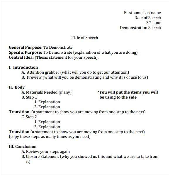 demonstrative speech Demonstrative speech - sample outline this sample outline this short speech has shown you the importance of surveying the scene of an emergency.