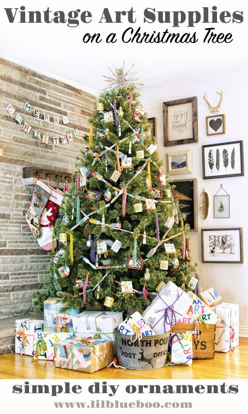 Vintage Art Supplies On A Christmas Tree Michaels Makers Dream Tree Challenge 2017 Ashley Hackshaw Lil Blue Boo Christmas Tree Diy Christmas Tree Holiday Crafts For Kids