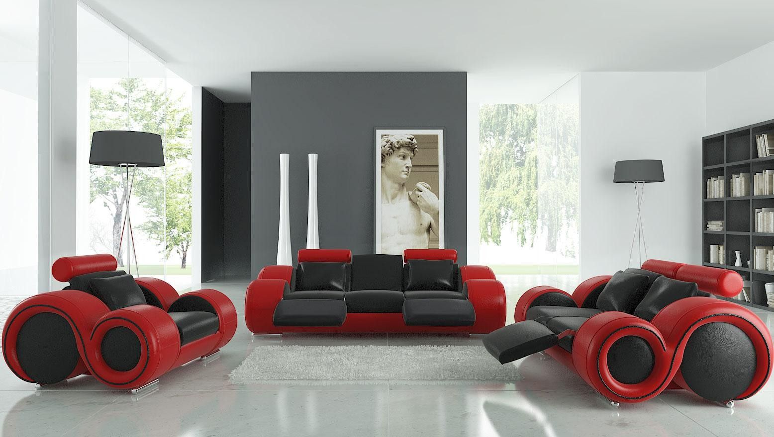 Modern Franco Leather Full Top Grain Leather Sofa Set Home Design Ideas