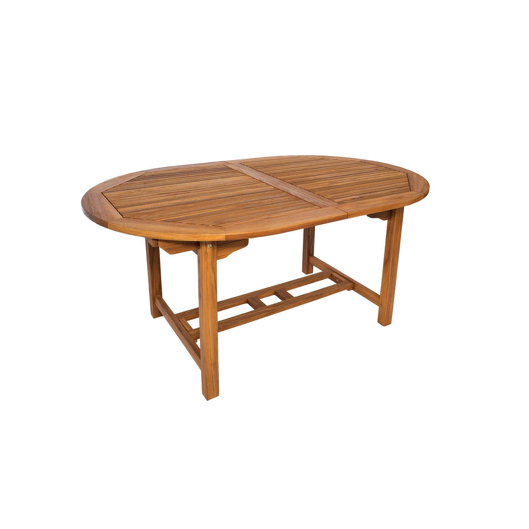 mesa en teca ovalada de 150 extensible   jardín, muebles de teca ...