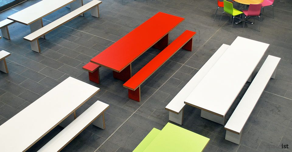 Long 10 Person School Canteen Table And Benches With A