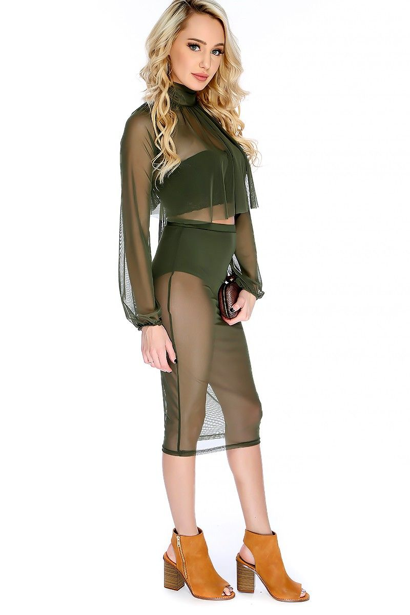 Sexy olive sheer mock neck draped long sleeve knee length two piece