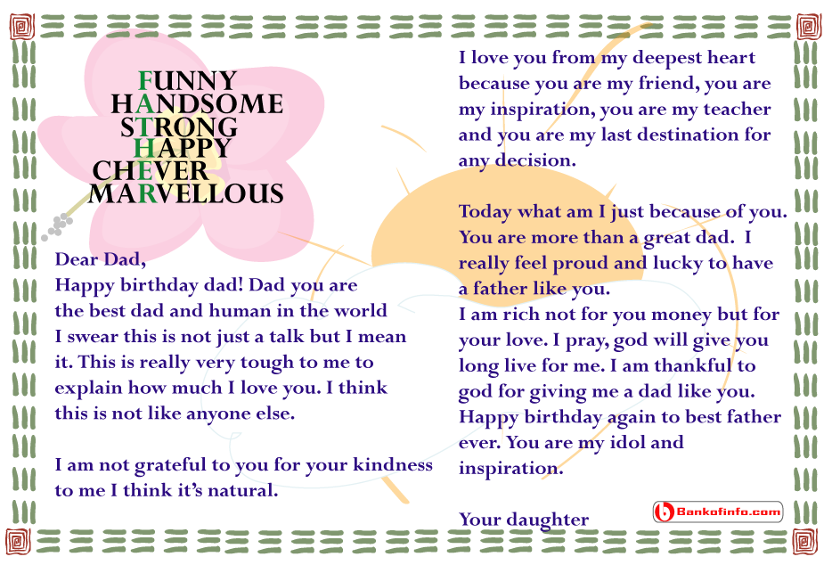 Birthday letter to dad from daughter | Letter | Birthday letters