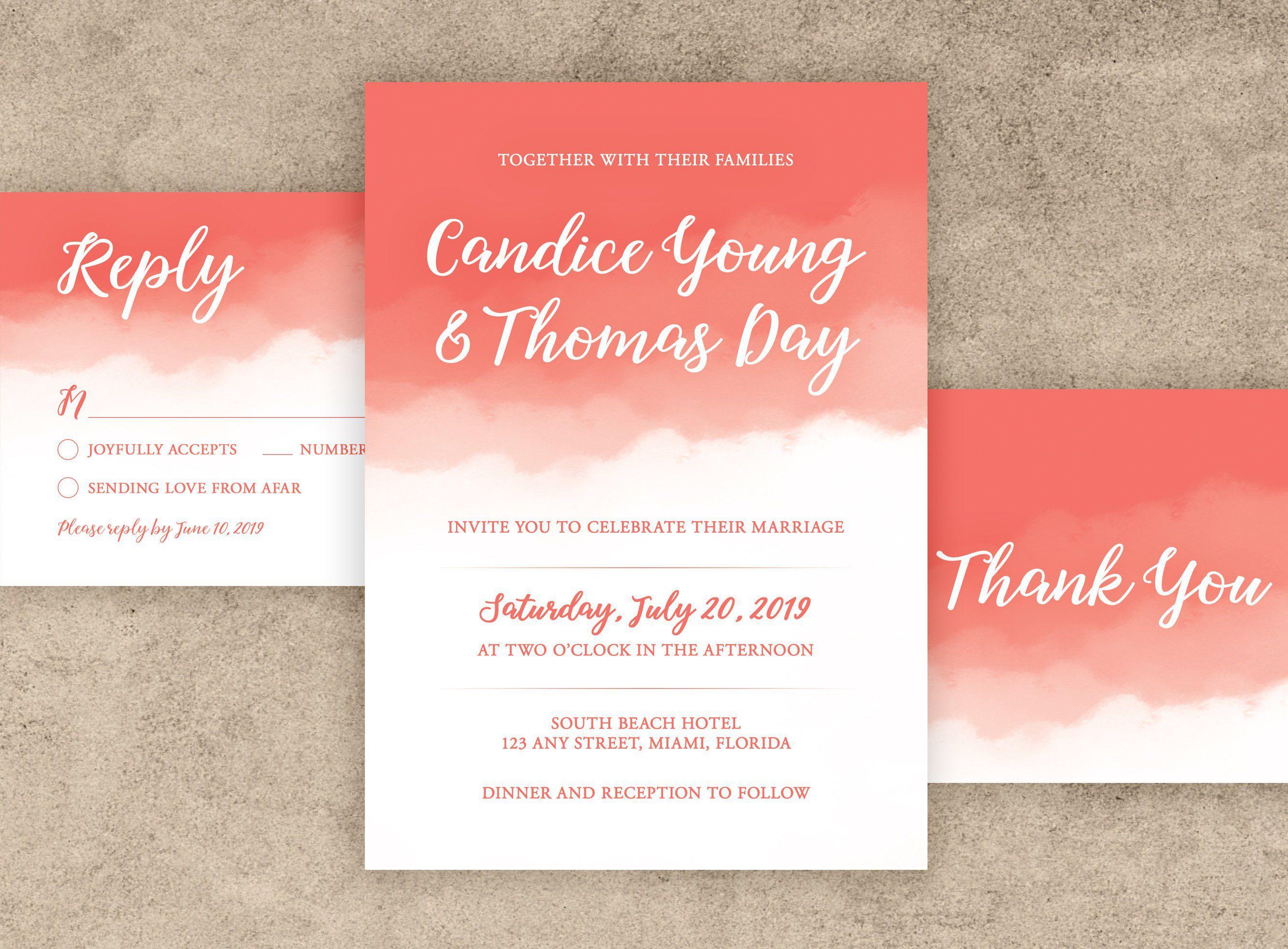 C Watercolor Wedding Invitation
