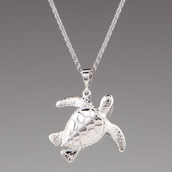 Wyland sterling silver sea turtle pendant necklace by lenox turtle wyland sterling silver sea turtle pendant aloadofball Choice Image