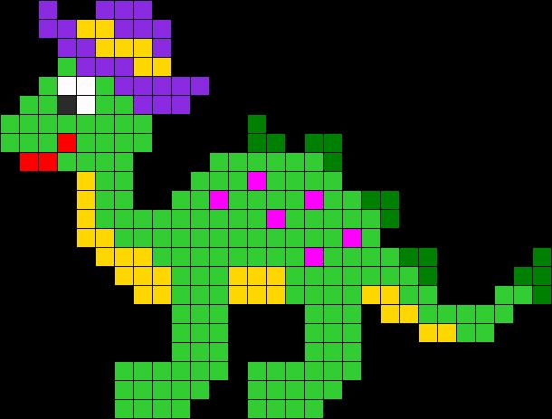 Dinosaur Perler Bead Pattern Bead Sprite Kanavice Ornekleri Orgu Motifleri