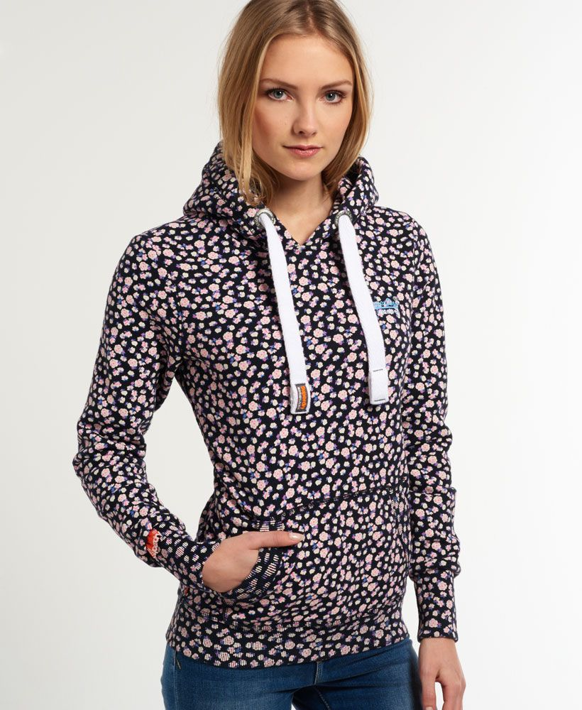 Womens - All Over Print Hoodie in Navy Ditsy   Superdry   Activewear ... 14ea8f772200