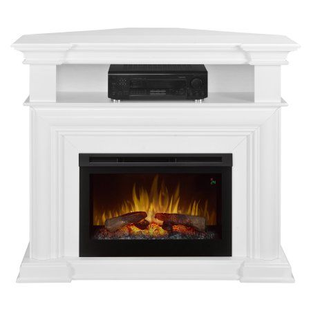 Home Fireplace Media Console Corner Electric Fireplace White