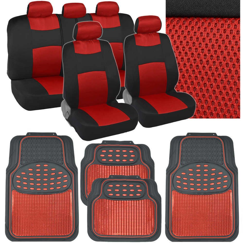Red Car Seat Covers Floor Mats Set Knit Mesh Accents W Metallic Rubber Mats Seat Covers Carseat Cover Rubber Floor Mats