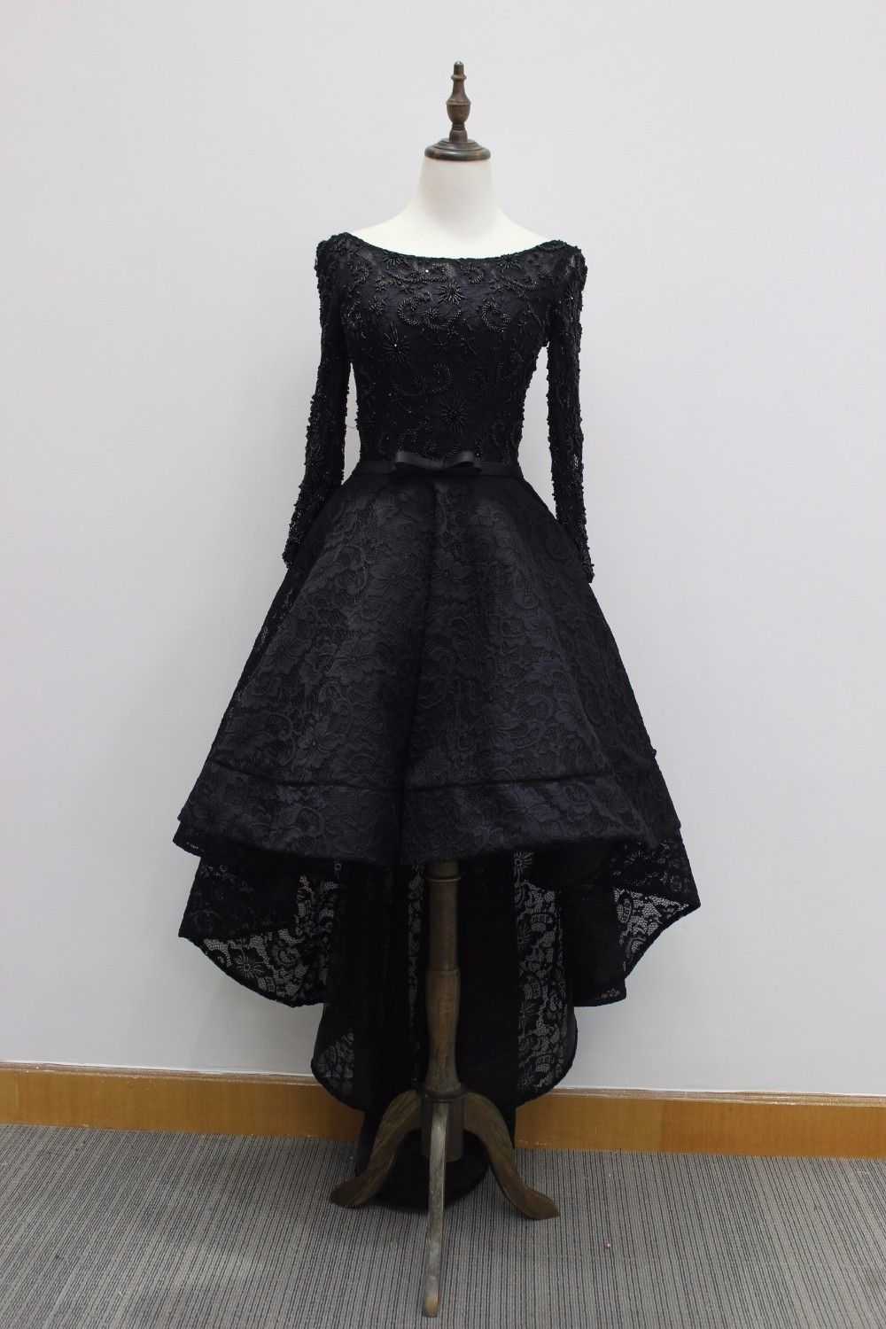 Lace black prom dresses high low beaded lace up long sleeves