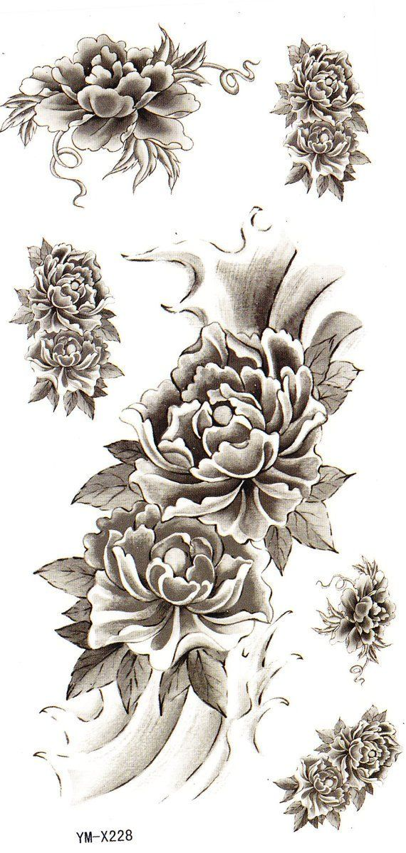 Claire Black Rose Flower Temporary Tattoo | Products | Full sleeve tattoos, Full sleeve tattoo ...