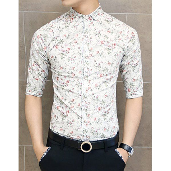 Stylish Turn-down Collar Color Block Floral Print Design Half Sleeves Men's Polyester Shirt, AS THE PICTURE, L in Shirts | DressLily.com
