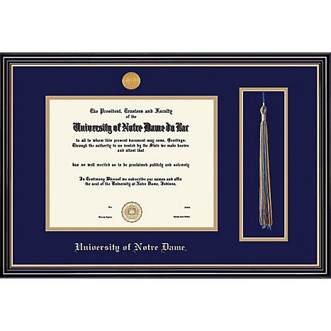 university of notre dame 85 x 11 prestige diploma frame with tassel - Diploma Frames With Tassel Holder