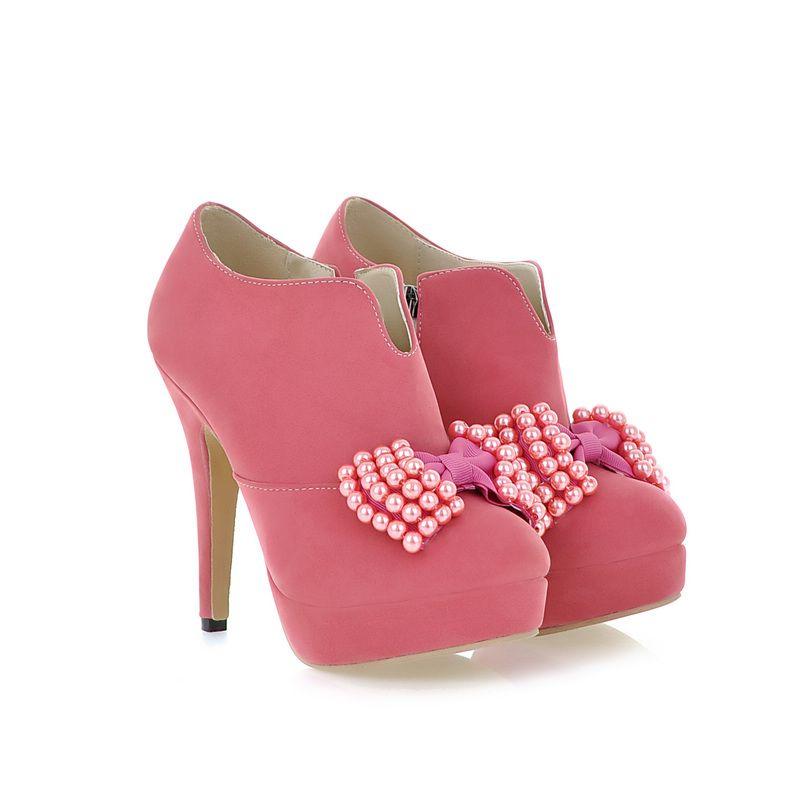 Cute Candy Pink Bow Knot Design High Heel