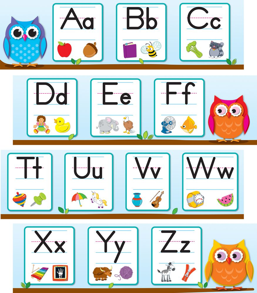 """Support the development of language arts skills with the eye-catching, contemporary Colorful Owls Alphabet Mini Bulletin Board Set. Display this functional and vibrant mini bulletin board set in the classroom as a way to reinforce critical spelling and phonic skills. The Colorful Owls Alphabet Mini Bulletin Board includes 8 alphabet strips, 6"""" x 21"""" each, with lower and upper case letters. Each letter provides a corresponding short and long vowel sound example. Includes a Resource Guide…"""