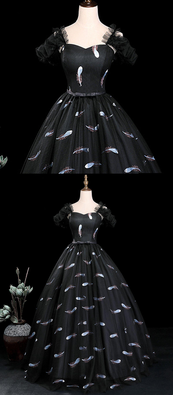 Black floral tulle long halter a line evening dress black senior
