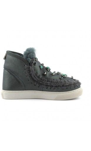 MOU Mini Eskimo Sneaker With Rhinestones Women Boots Pearl Nappa Green #mou #mouboots #snowday