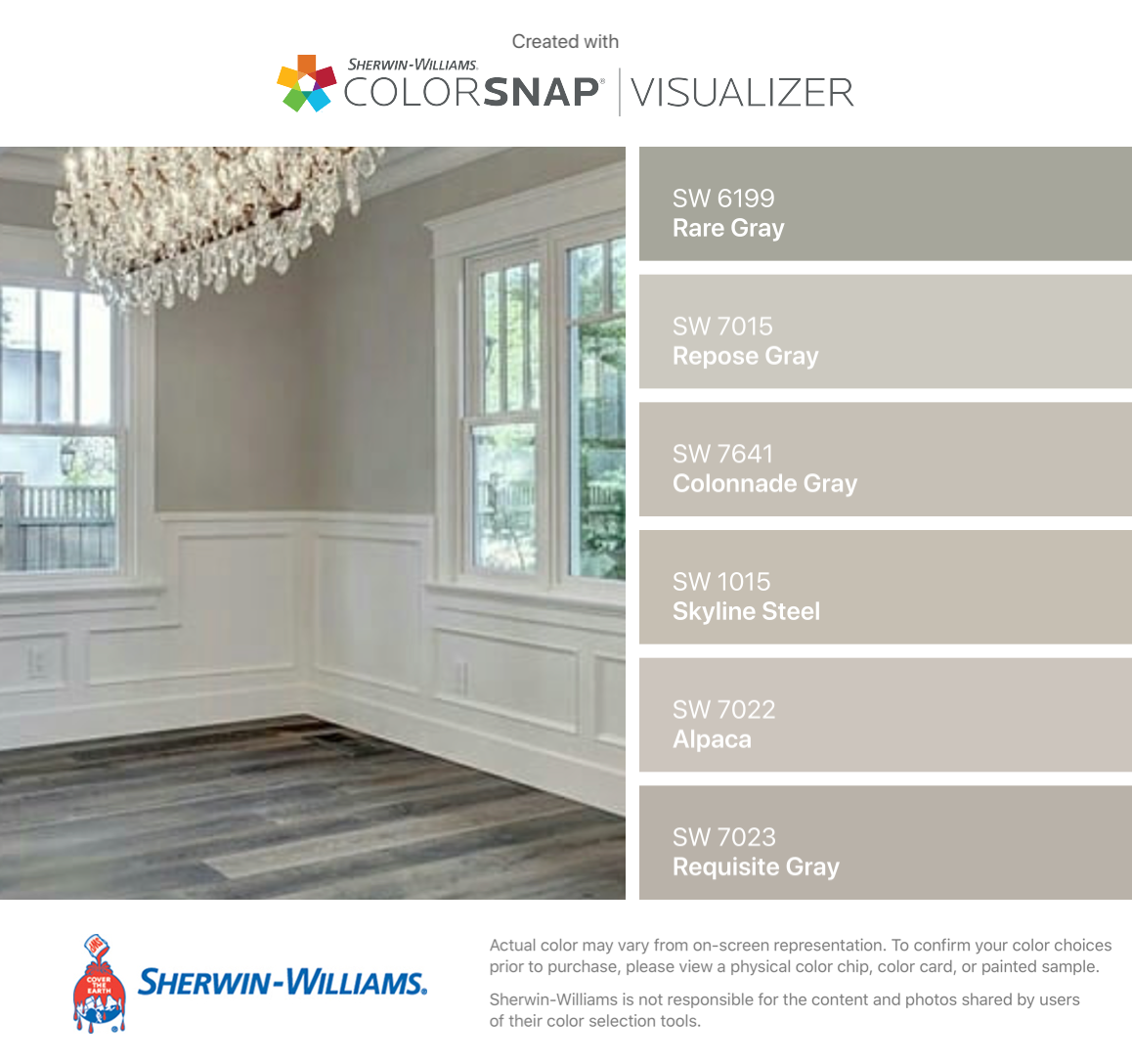 i found these colors with colorsnap visualizer for iphone by sherwin williams rare gray sw. Black Bedroom Furniture Sets. Home Design Ideas