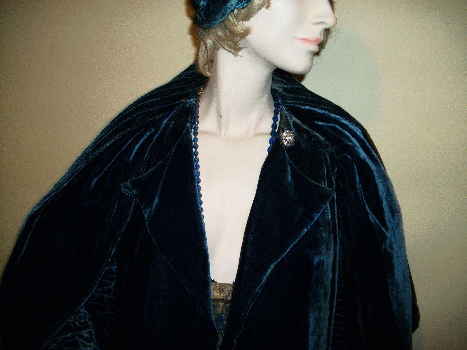 Vintage 1920 Coat Flapper Era Royal Blue Velvet Faux Scarf A1 Condition Art Deco | eBay