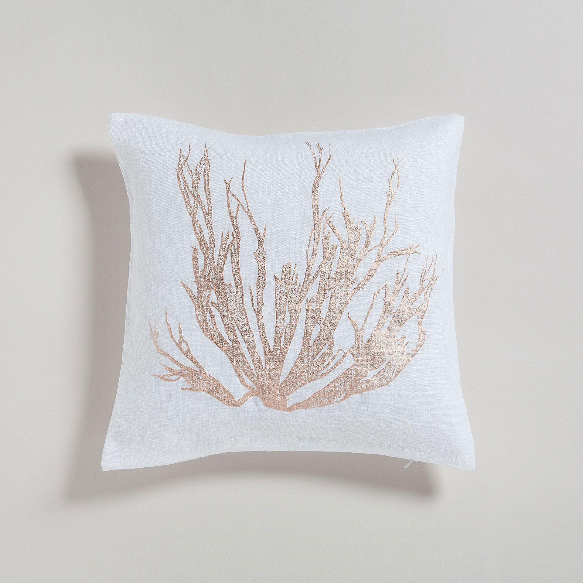 Metallic Coral Print Linen Cushion Cover