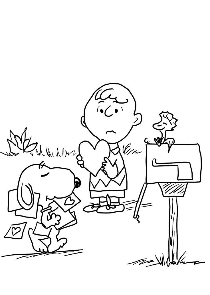 Charlie Brown and Valentines Day coloring pages for kids