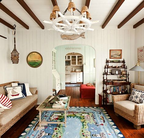 new england cottage style on martha's vineyard. living room