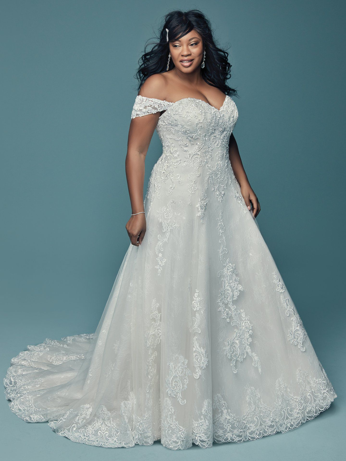 Plus size lace wedding dress with cap sleeves from Maggie Sottero ...