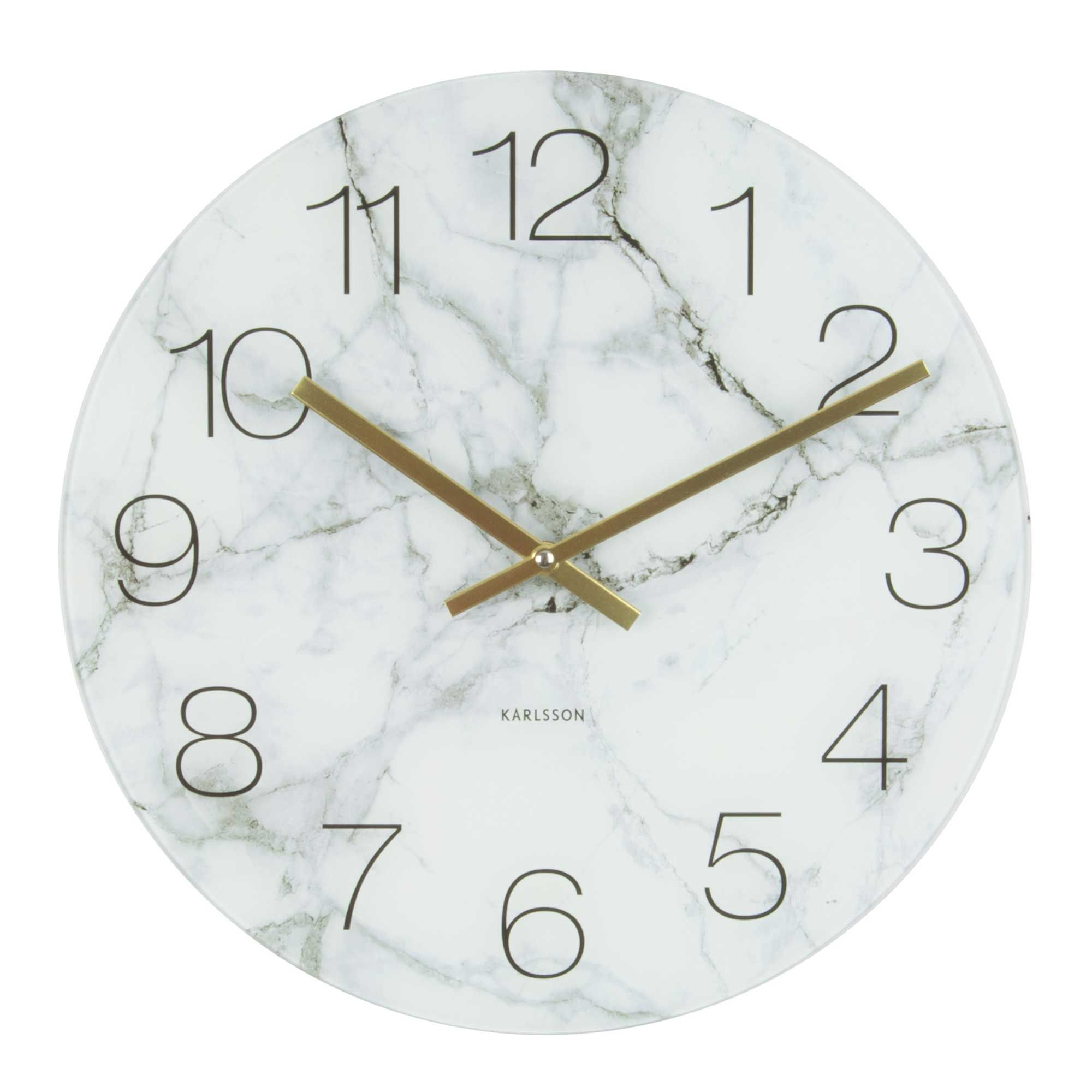 This Stunning Wall Clock Features A Timeless Marble Effect Glass Display With Stunning Brass Handles Offeri Black Wall Clock Bathroom Wall Clocks Marble Clock