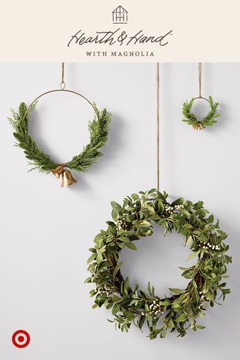 Mix Match Faux Evergreens To Add Natural Texture Style To Your Mantel Or Door All Y Christmas Wreaths Magnolia Christmas Decor Christmas Decorations Rustic