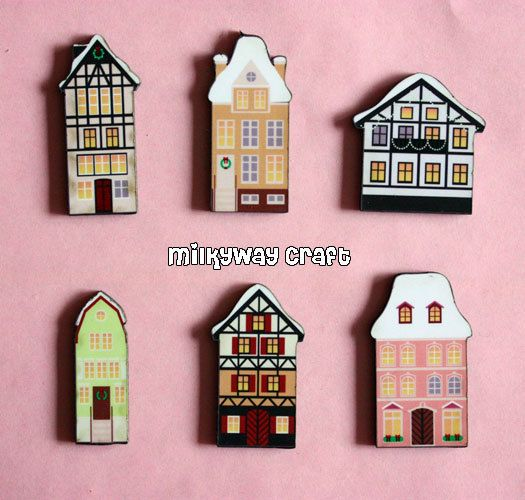 Six Pieces of small HOUSE wood cut by MilkyWayCraft on Etsy, $9.99