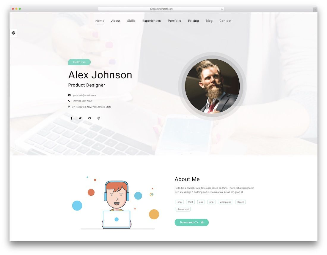 30 best html5 resume templates for personal portfolios