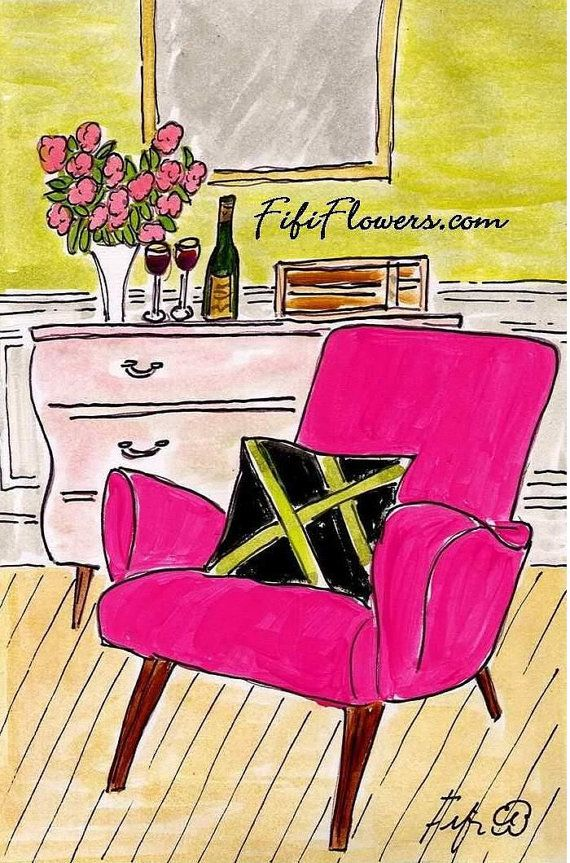 Cheers to the Hot Pink Chair by fififlowers on Etsy, $10.00