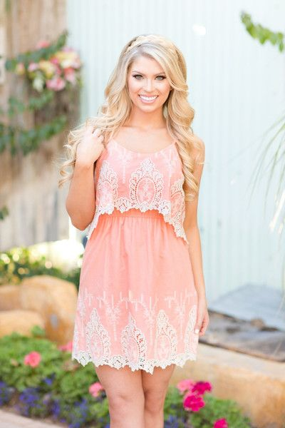 Sweet Southern Belle Dress - Coral
