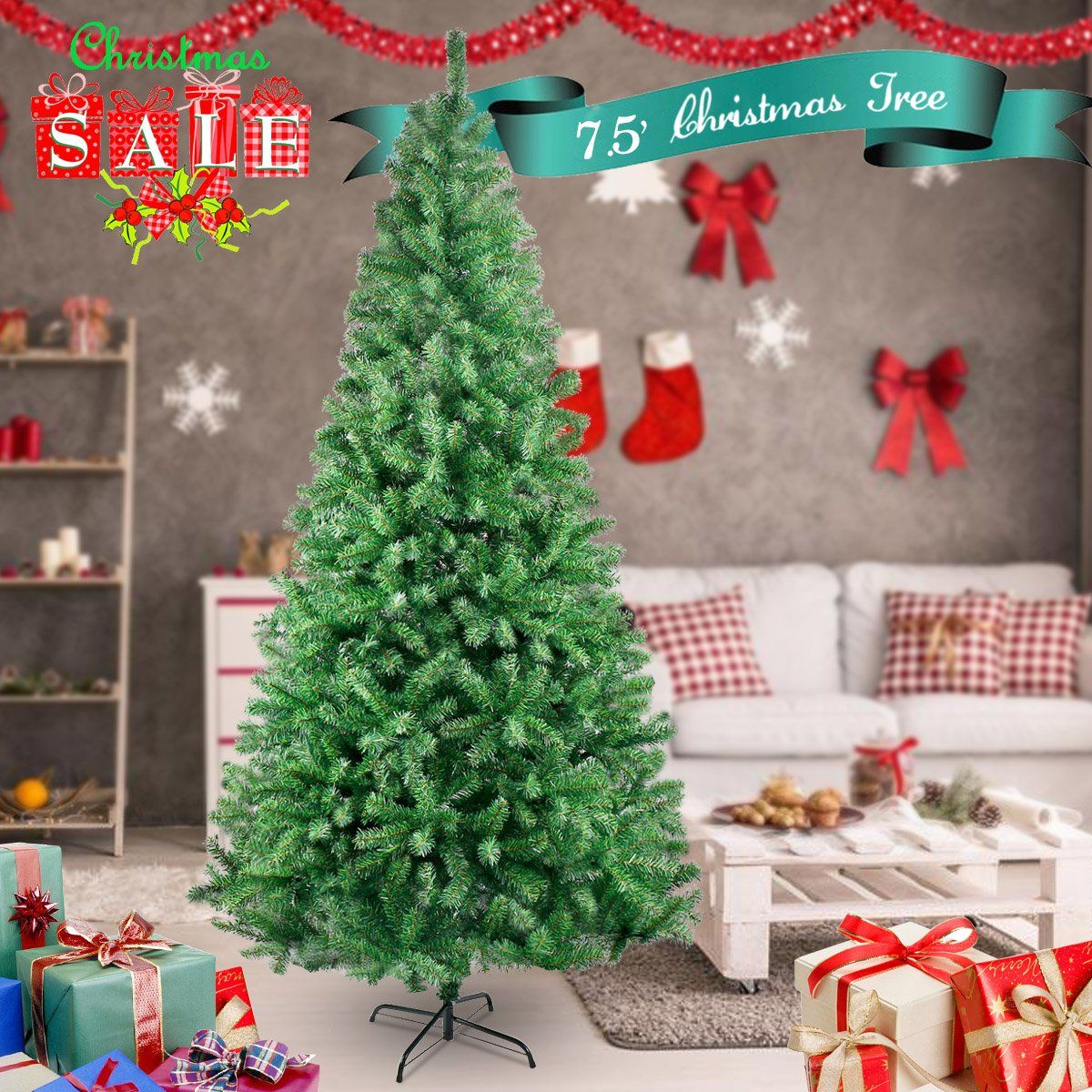 HAPPON 7.5 FT 1500 Tips Premium Artificial Pine Tree Christmas Tree ...