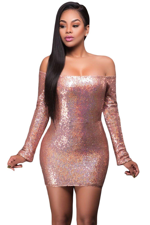 Sexy Glittering Pink Long Sleeve Off Shoulder Club Dress d8d3361c1665